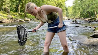 Girl's FIRST Creek Fishing Adventure EVER!!! (She Caught a NEW PB)
