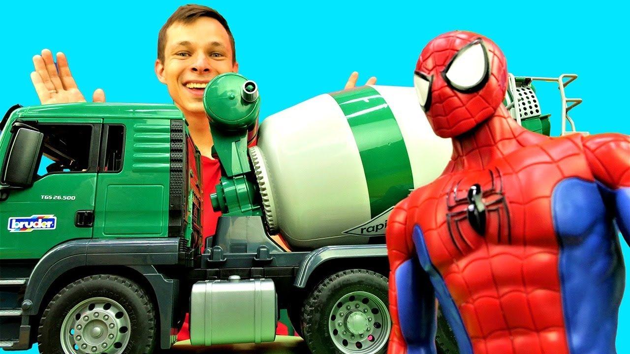 Человек Паук и Фёдор на стройке! Игры с машинками для детей.