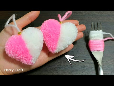 Super Easy Pom Pom Heart Making with Fork - Amazing Craft Ideas with Wool - How to Make Yarn Heart - Merry Craft