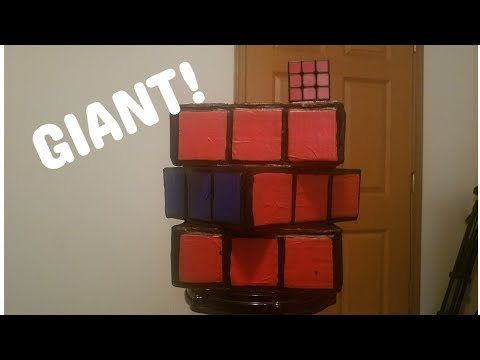 Giant Rubik's Cube Made Out Of Cardboard and Paper Mashe!