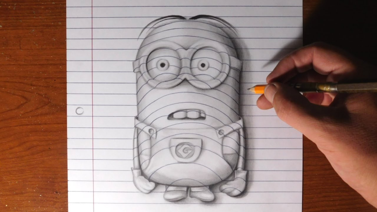 D Lined Paper Drawings : How to draw a minion line paper trick art youtube