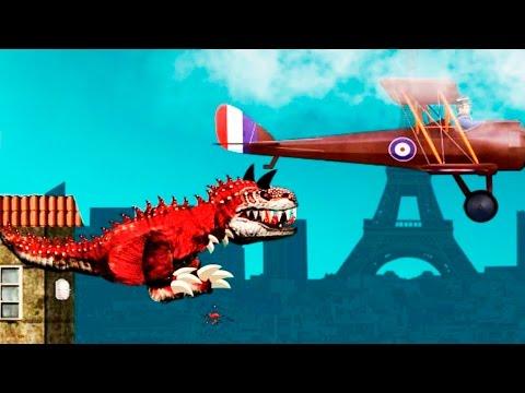 ДИНОЗАВР Тираннозавр РЕКС в Париже #2 уничтожает всех ВИДЕО игра как мультик для детей Paris REX