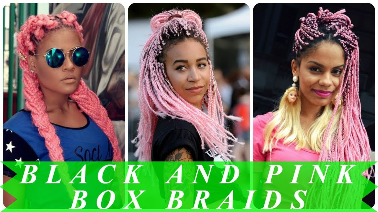 Pinks Hair Style: Pink And Black Box Braids Hairstyles For Black Women