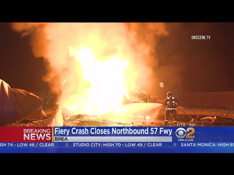 Fiery Big Rig Crash Shuts Down Large Portion Of 57 Freeway In Fullerton