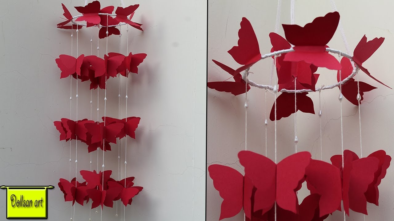 Diy Paper Wall Hanging Craft Ideas Diy Beautiful Wind Chime For Room Decoration Youtube