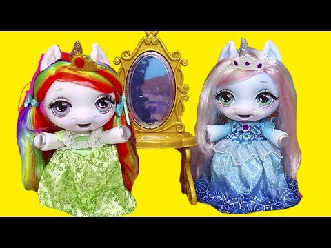 Baby Unicorns Pretend They are Princesses  Toys and Dolls Fun for Kids with New Dollhouse  SWTAD