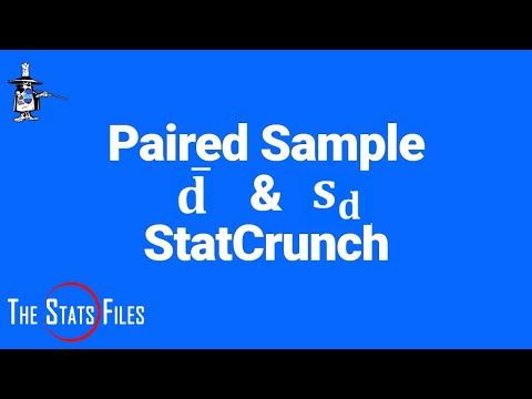 Find Mean dbar & standard deviation sd of the differences paired samples t-test - StatCrunch