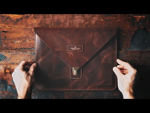MAKING A HANDMADE ENVELOPE STYLE LEATHER IPAD COVER - DIY BUILD ALONG - ASMR