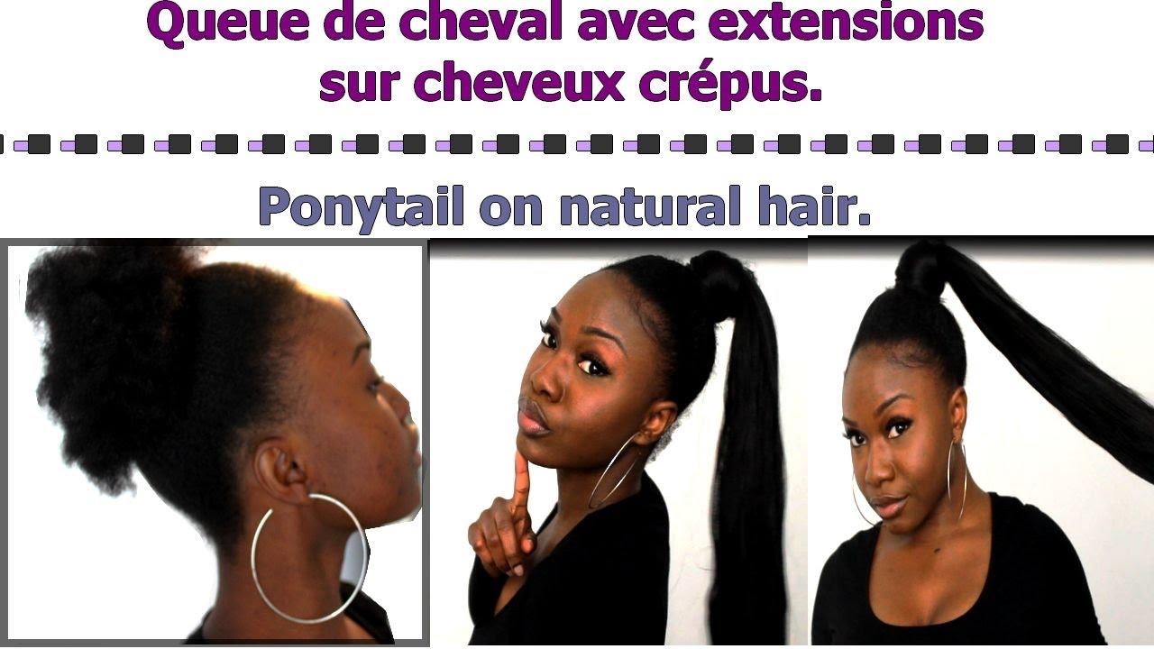 Queue de cheval avec des méches xpression sur cheveux crépus , Ponytail on  Natural hair. , YouTube