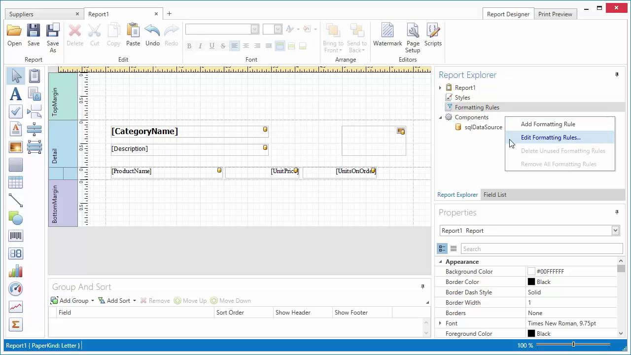 DevExpress Reporting - The WPF End-User Designer