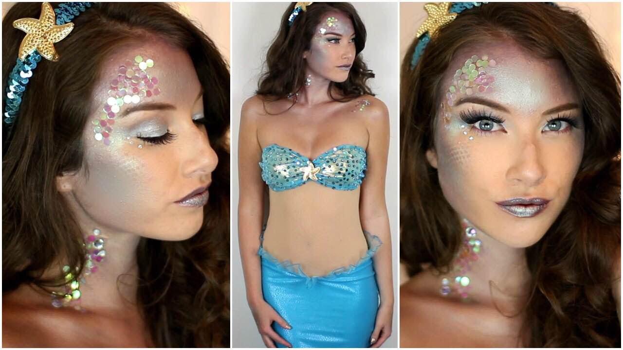 Mermaid Halloween Makeup Tutorial & Costume! - YouTube