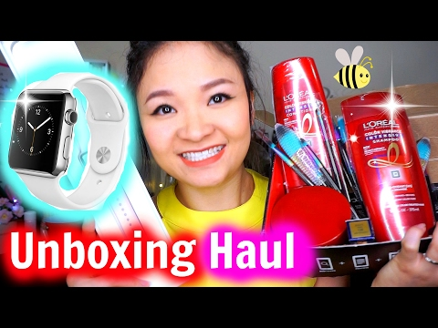 Đập Hộp Apple Watch Series 2 | Unboxing Haul Lipstick, Hair Care, Brushes ♡ BeeSweetiee