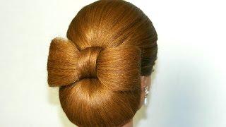 Прическа для средних волос: Бант из волос и валик.