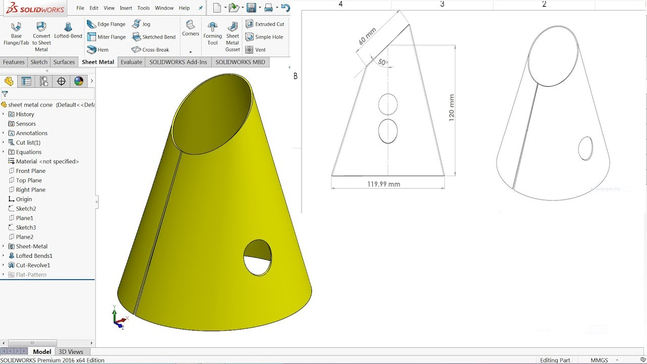 Solidworks Tutorial Sheet Metal Cone Youtube