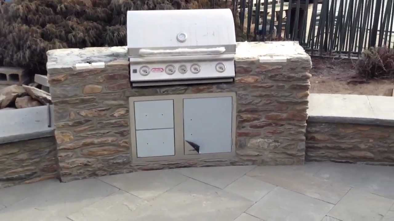 Stone Patio with bench and built in Grill - YouTube
