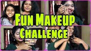 💄#Fun Makeup Tutorial Challenge  No hand Makeup challenge  Sister tag video  Malayali YouTuber Unni
