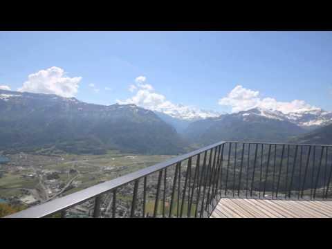 Harder Kulm mountain in canton of Bern, Switzerland. Overlooking Jungfrau.