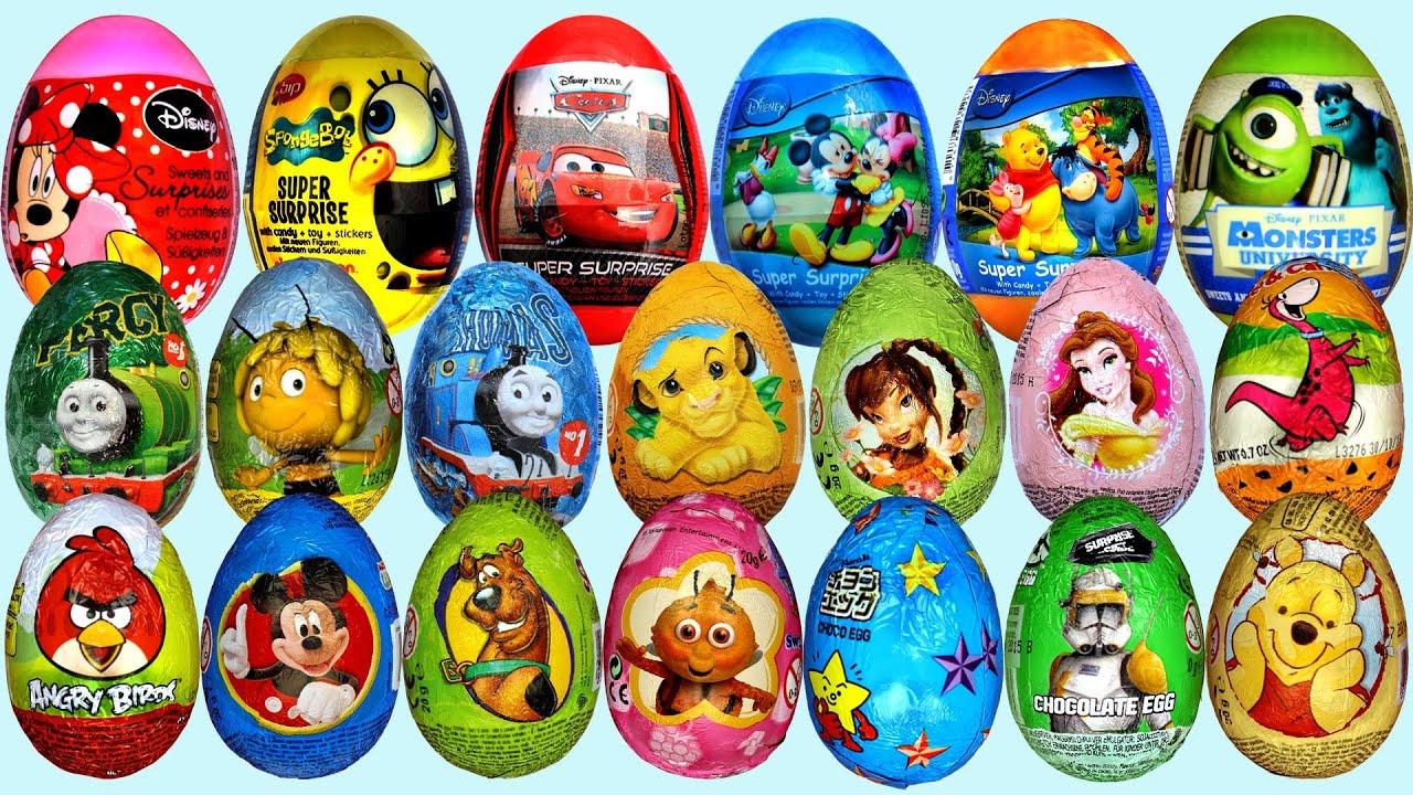 26 Surprise eggs, Маша и Медведь Kinder Surprise Disney Pixar Cars ...