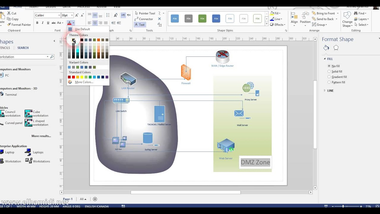 hight resolution of creating network diagram using visio 2013
