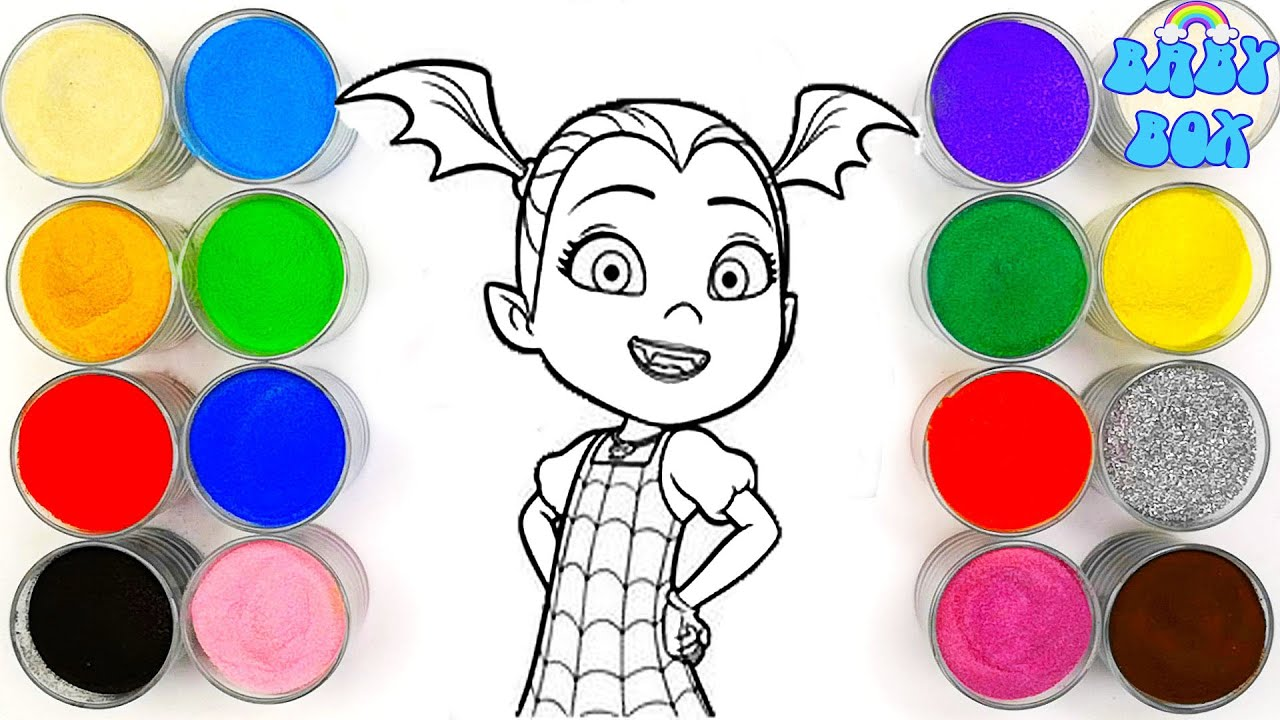 Вампирина, раскраски для детей. Рисование песком. - YouTube