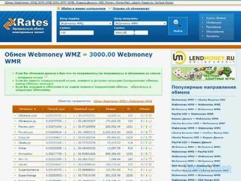 Способ перевода вебмани WMZ в WMR, WMU, WME или WMB - XRates.ru