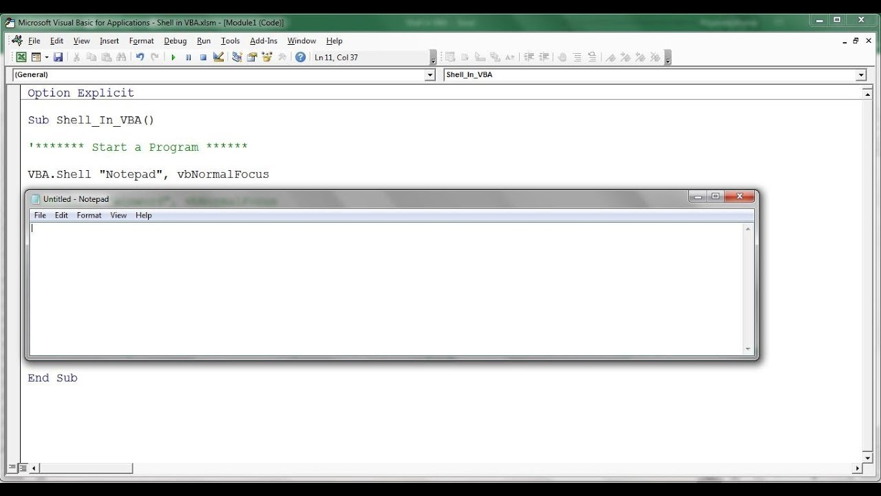 Shell Function in VBA with Example - PK: An Excel Expert