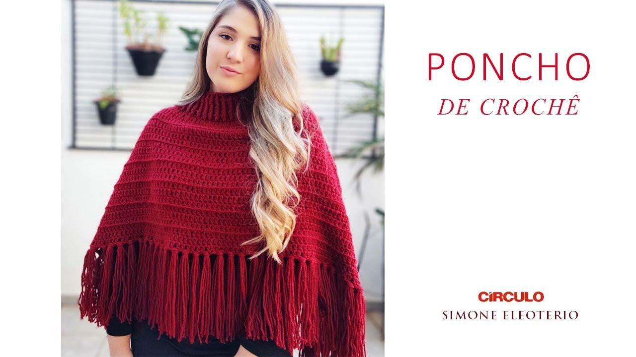 Poncho de Croche super fácil aula Iniciantes Simone Eleoterio