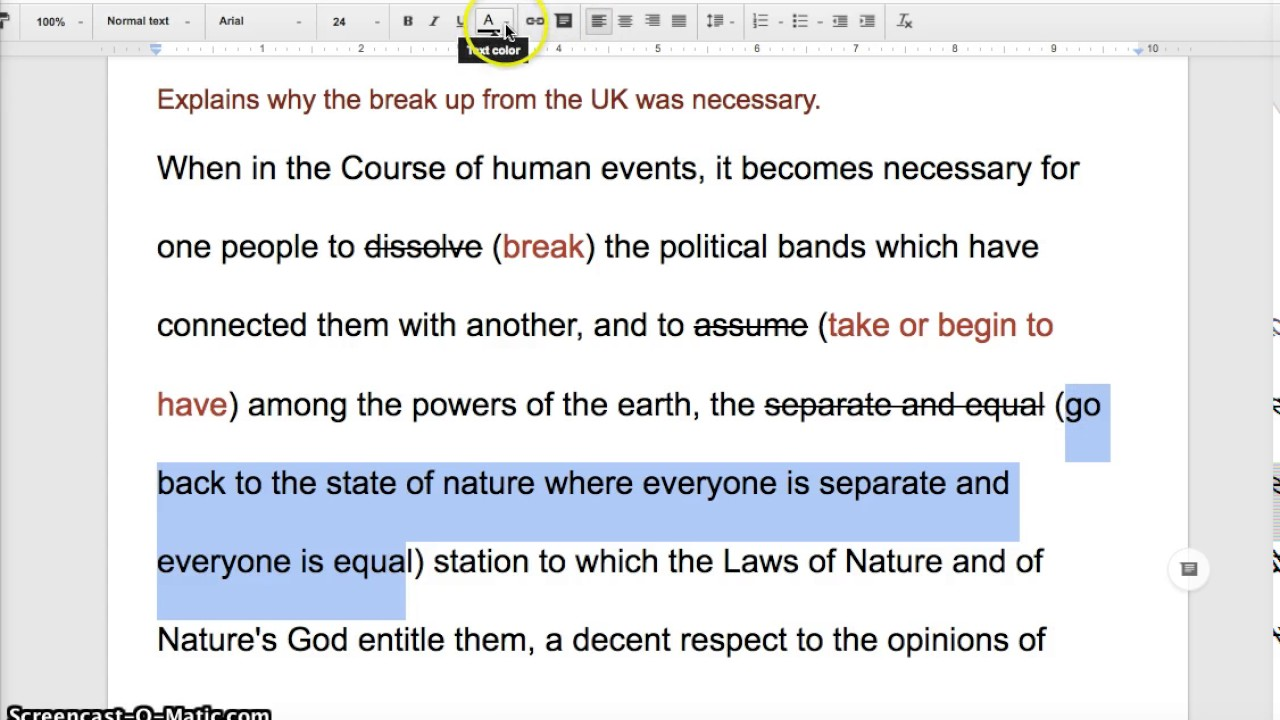 Annotation Of The Declaration Of Independence Youtube