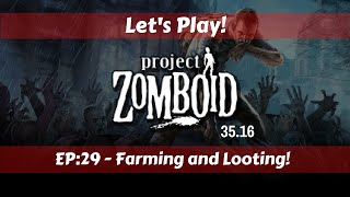 Let's Play!: Project Zomboid 35.16!: Ep29: Farming and Looting! (Good Farming Info in this One)