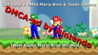 (DMCA-ed by Nintendo) Cjes Luigi + SM64 Mario Bros & Toads Update [NSMBW  Mod] (Happy News Years!) by StupidMarioBros1Fan