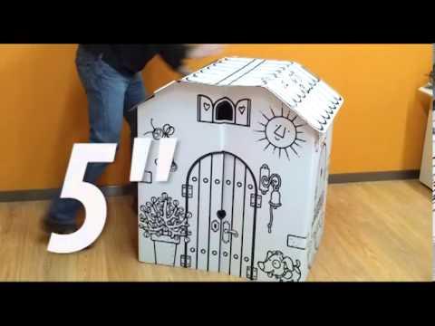 Montaje y desmontaje de la masia casa de cart n para for Casitas de jardin para ninos