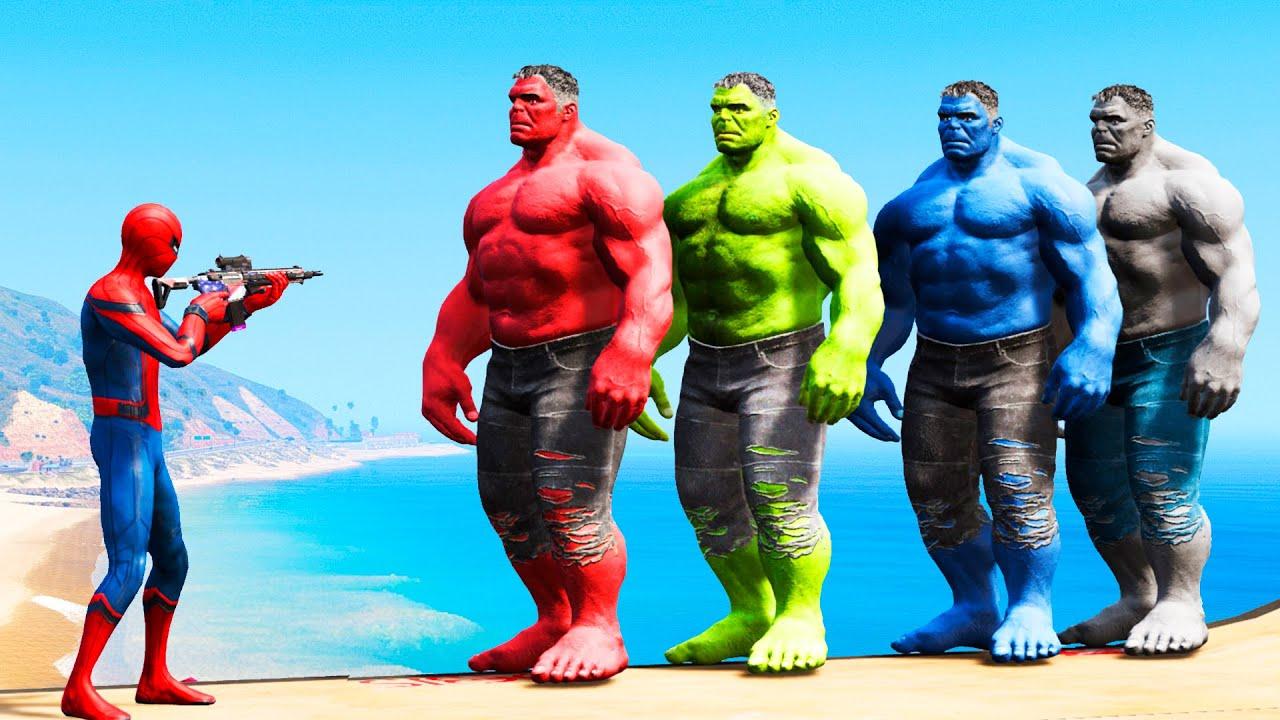 GTA 5 Water Ragdolls Spiderman vs Red Hulk vs Blue Hulk vs ...