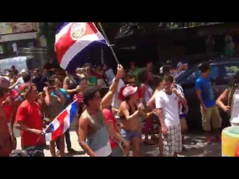 Costa Rica beats Italy- Tamarindo Celebrating in the Streets