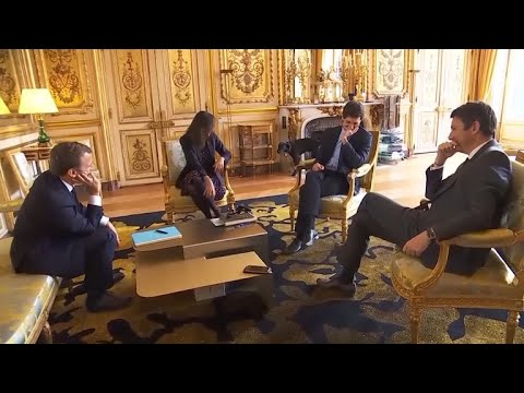 French President Macron's dog caught on cam