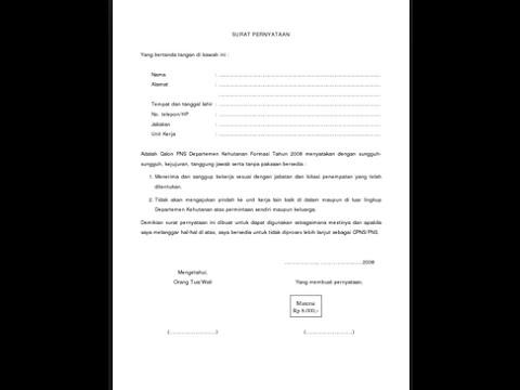 Cara Membuat Surat Pernyataan Diri Dengan Mudah Youtube