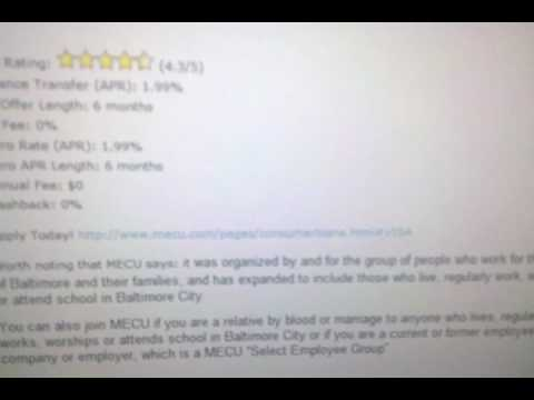 Baltimore MECU Visa Platinum 0% APR card review