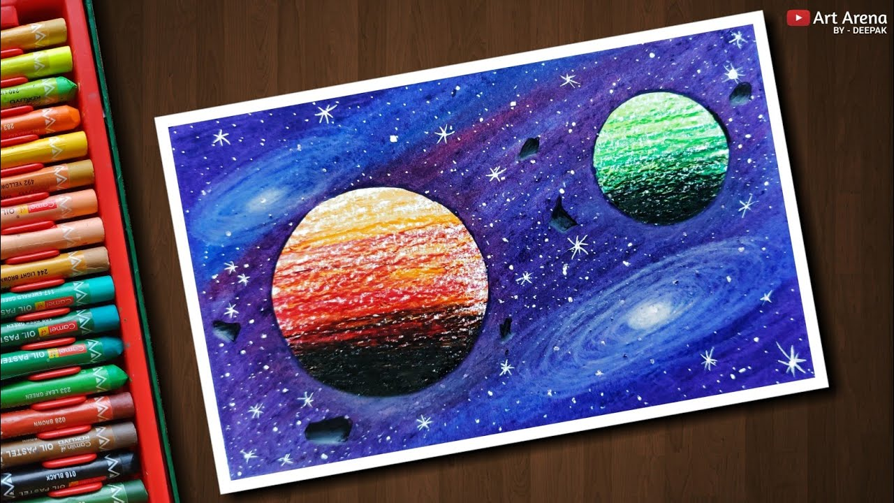 Galaxy Drawing With Oil Pastels Step By Step