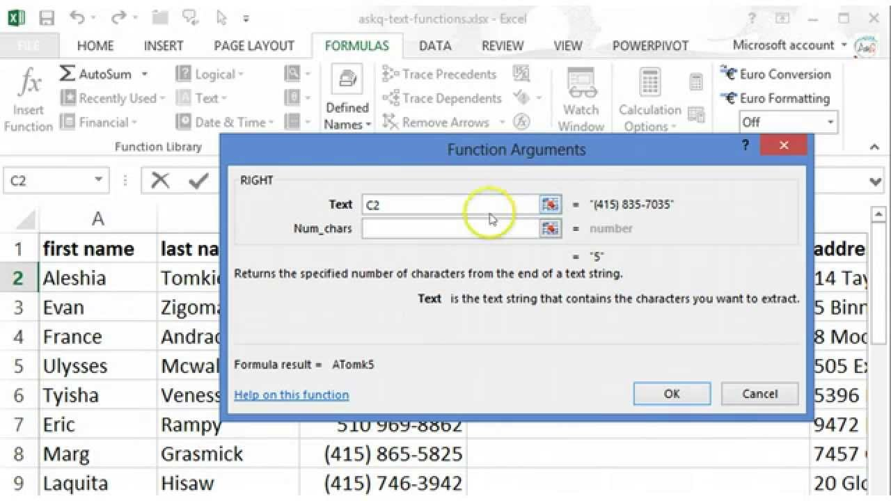 Excel Text Functions 20 of 20 =LEFT and =RIGHT – Ask Quincy