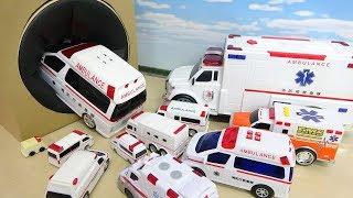 色んなサイズの救急車たちが大きなTakilong's Boxにどんどん入っていくぞ