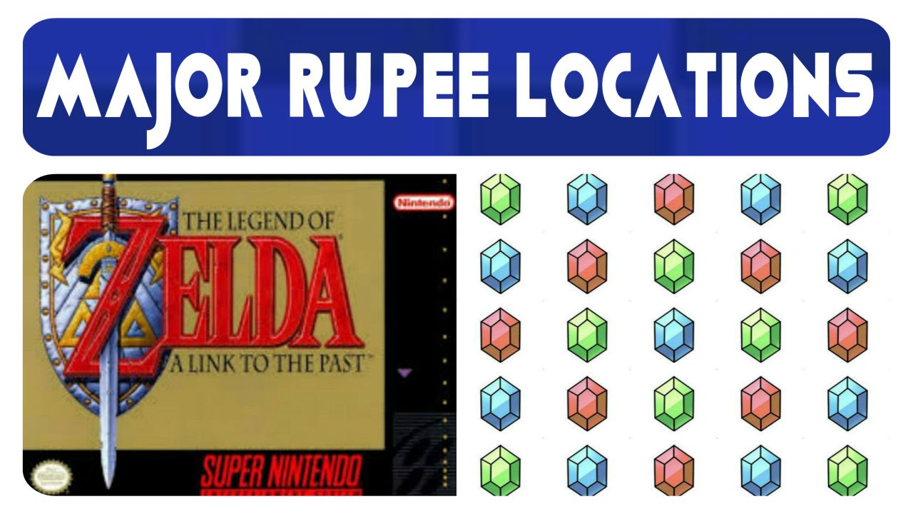 Zelda: A Link To The Past - Major Rupee Locations (2,480R)