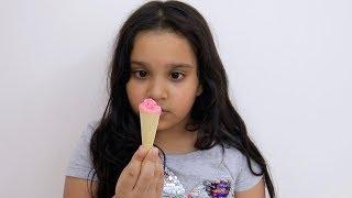 Shfa Pretend Play With Food Cart   Kid Selling Tiny Ice Cream   Johny Johny yes Papa Song