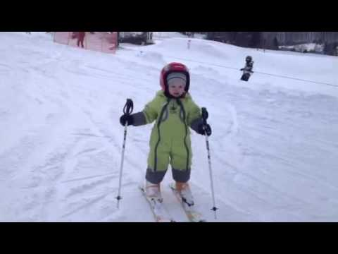 2 Year Old Baby Skiing Slalom Alone Youtube