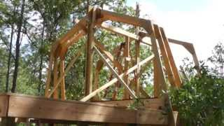 Raising Homemade Gambrel Barn Trusses By Yourself: No Crane Rental Necesary