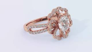 World class diamond engagement rings - the Petal Heart Halo Rose Gold Side Stone Diamond Ring