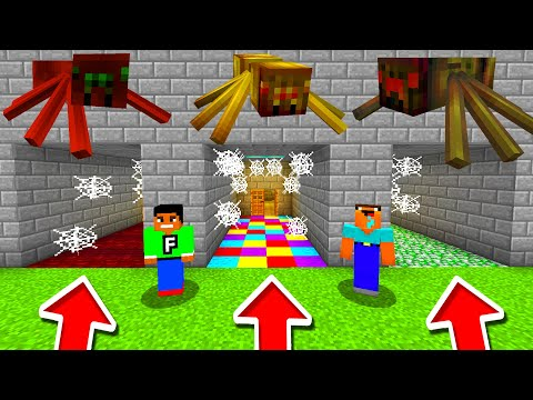 Minecraft PE : DO NOT CHOOSE THE WRONG SPIDER CAVE!