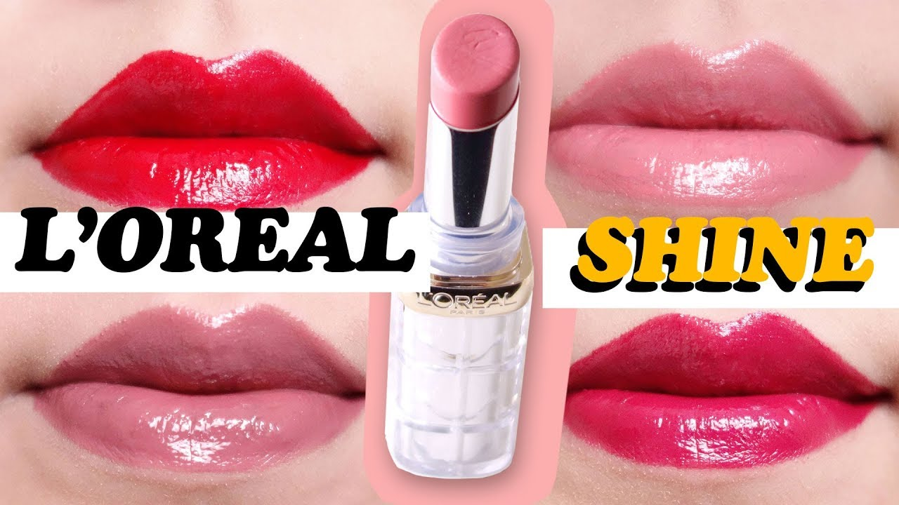 L'oreal Colour Riche Shine Lipstick Swatches on Lips ♡ 4 Shades