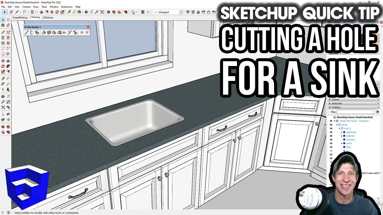 Cutting Holes In Counters For Sinks In Sketchup One Easy Way Youtube