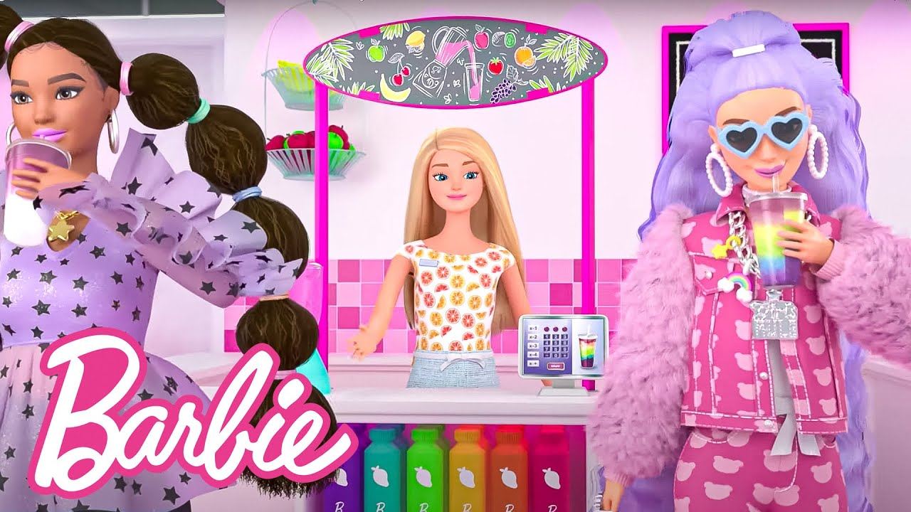 @Barbie   Barbie's Smoothie Shop in the Mall! Hanging out with Friends and Summer Jobs!