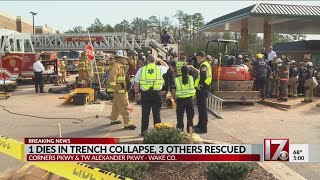 1 dies in trench collapse, 3 others rescued