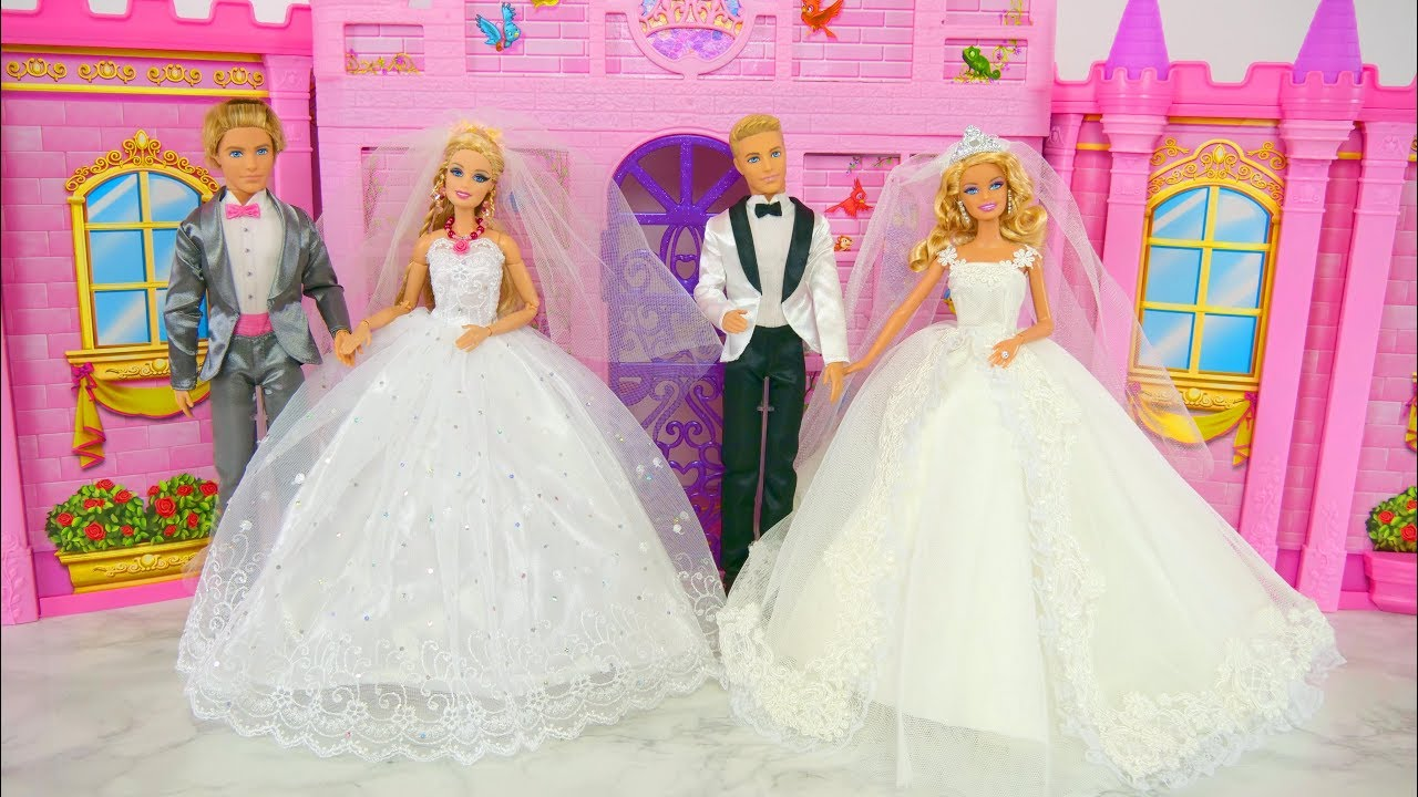 Barbie Dolls Wedding Dress Shopping At Bridal Shop Gaun Pengantin